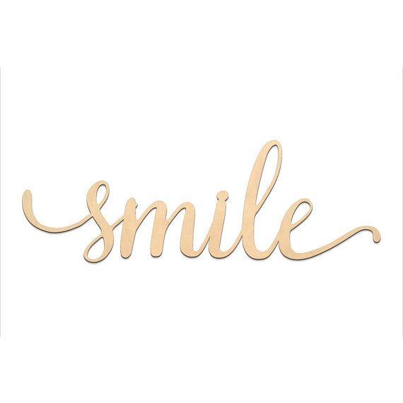 Smile Script Word Wood Sign Wooden Words Sign Art Rustic Cursive