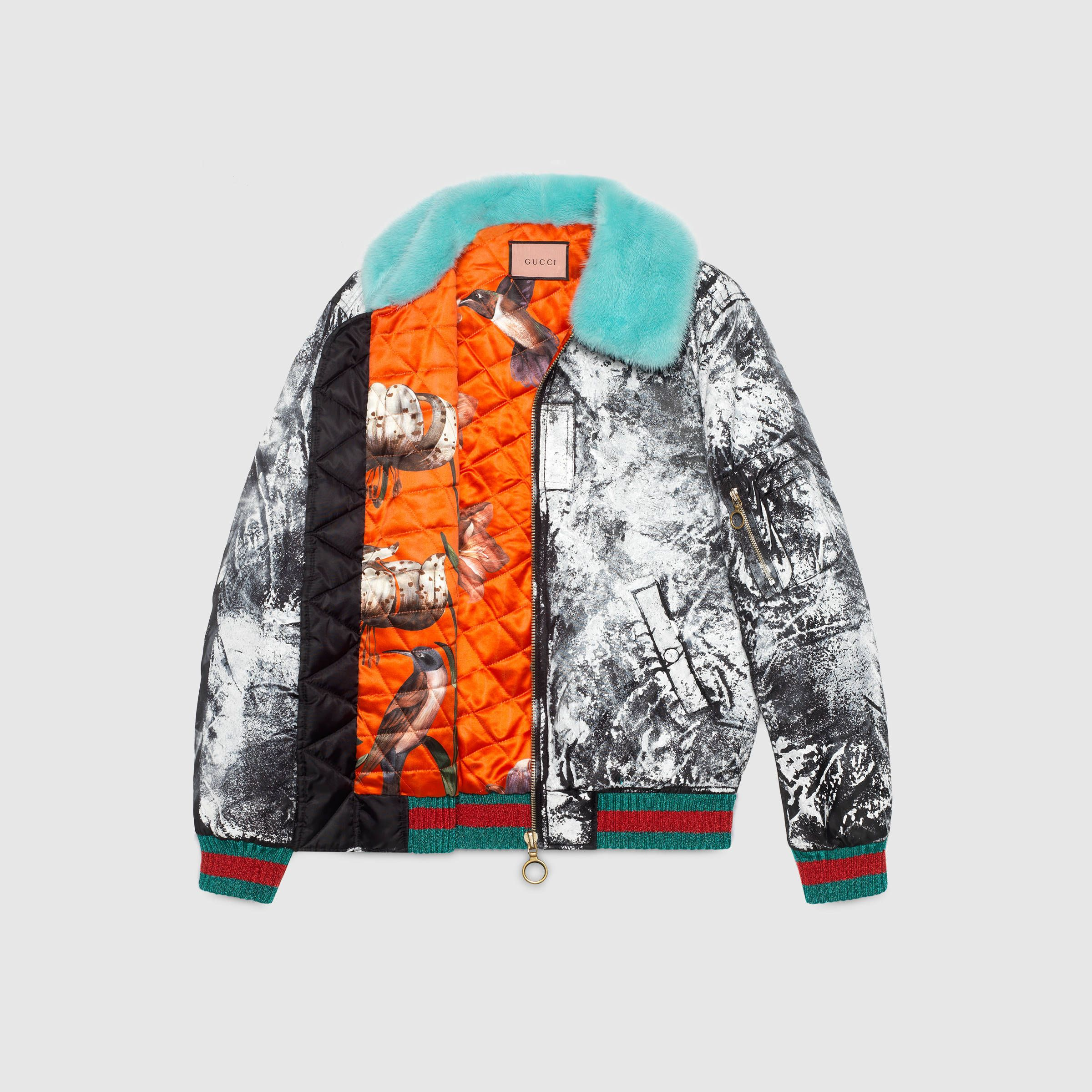 Handpainted Bomber Jacket From The Guccighost Collection Patterned Bomber Jacket Bomber Jacket Leather Bomber Jacket [ 2400 x 2400 Pixel ]