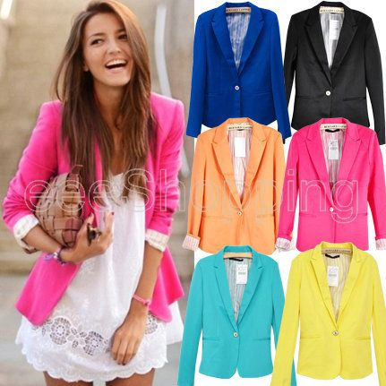 Hot Women One Button Lapel Casual Suits Blazer Jacket Outerwear Coats Top | eBay ONLY $19.99 FREE shipping.