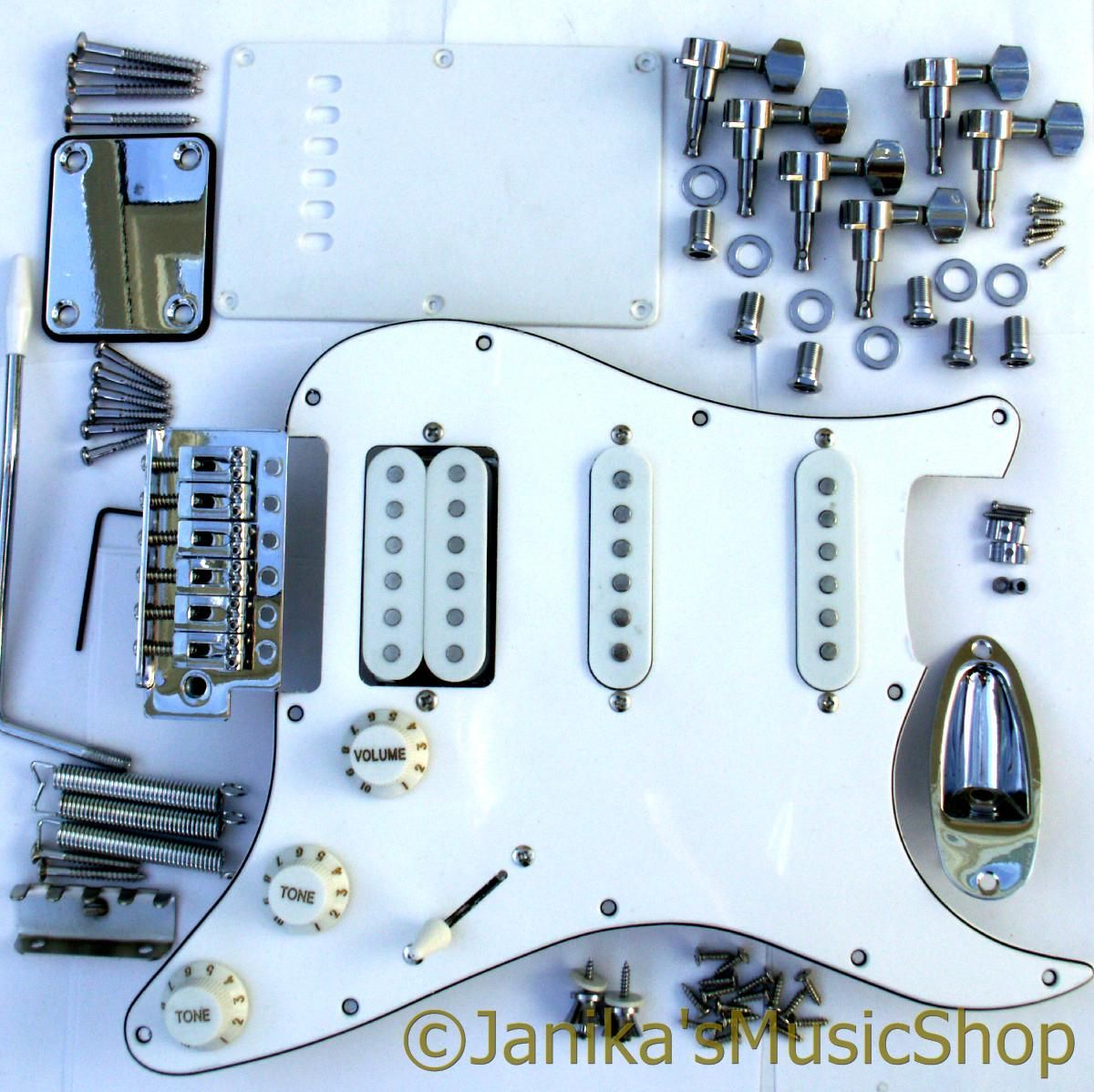 Stratocaster Guitar Hss Metal And White Plastic Full Parts Kit Of A Electric Style Chrome Pickguard Machine Heads Bridge Pickups