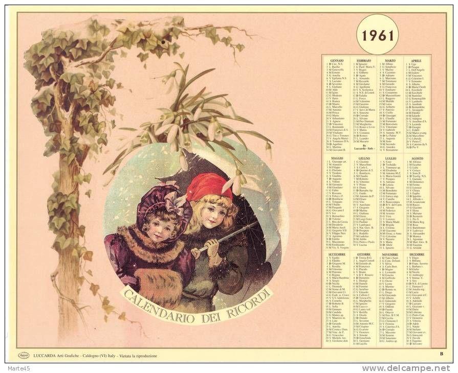 Calendario Del 1961.Calendario Dei Ricordi Anno 1961 Numero Dell Oggetto