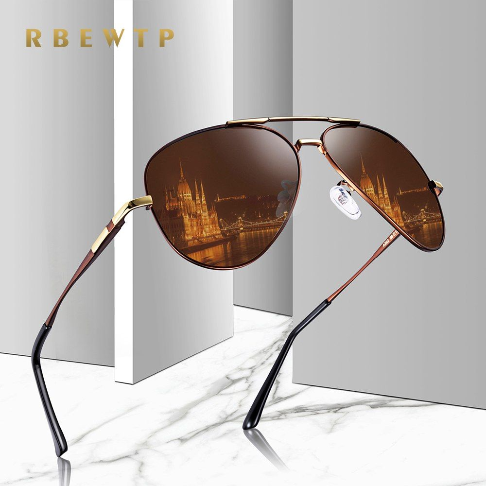 c49b77e62d RBEWTP Unisex Classic Alloy Frame Driver Men Sunglasses Polarized Coating  Mirror Frame Eyewear Aviation Sun Glasses