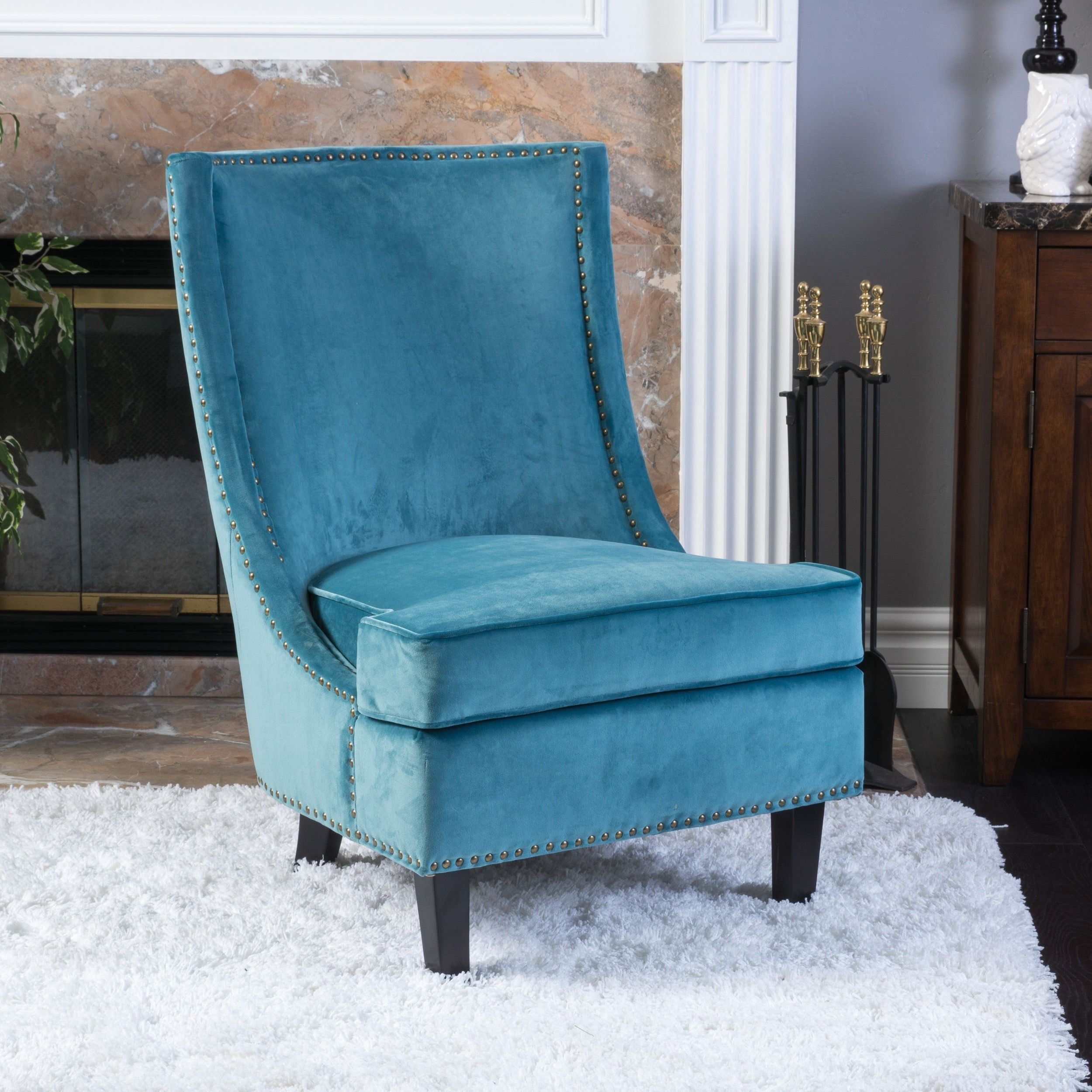 Single Living Room Chairs Carole Velvet Single Sofa Accent Chair By Christopher Knight Home
