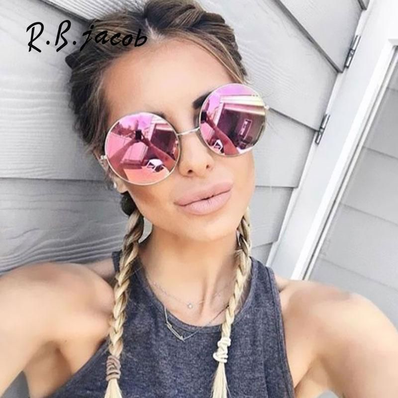 fe117817cf14 2017 New Fashion Oversized Women Sun Glasses Round Mirror Brand Designer  Sunglasses Lady Cool Retro UV400 Female Super Vintage