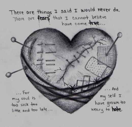 Sad HeartBroken | deviantART: More Like Sad heart, drawing by me by ~DarkAngelsTears