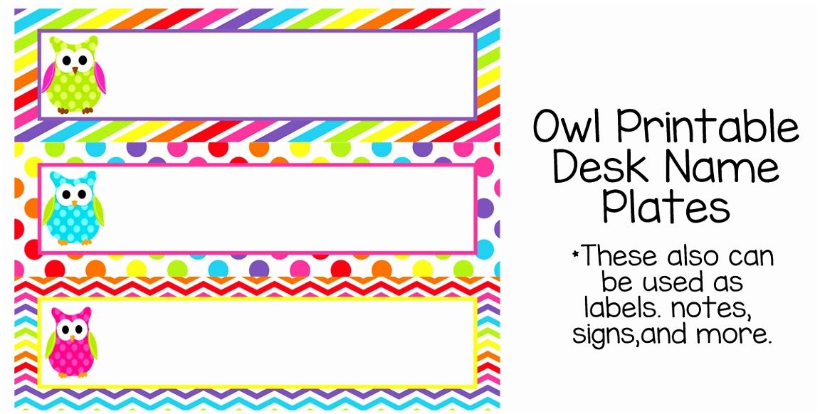 photo about Printable Name Plates named 7 Most straightforward Of Owl Tables Labels Printable Cost-free Instance Desk