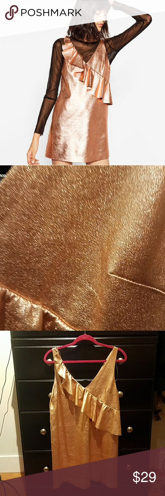 Uncategorized Leather Like Material nwt zara shiny ruffle dress beautiful rose gold color with a leather like material adorable on the front has such