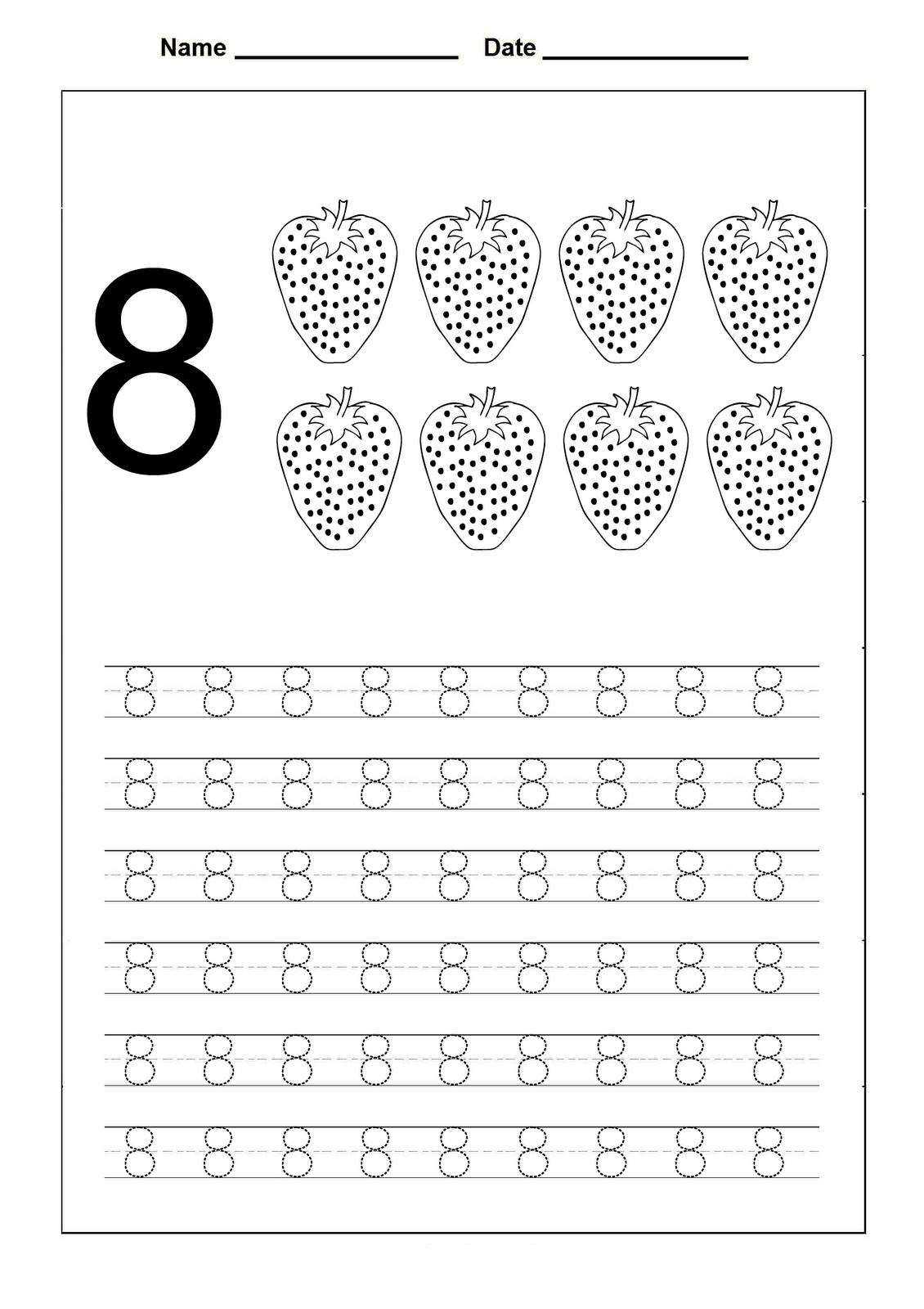 Number 8 Worksheets