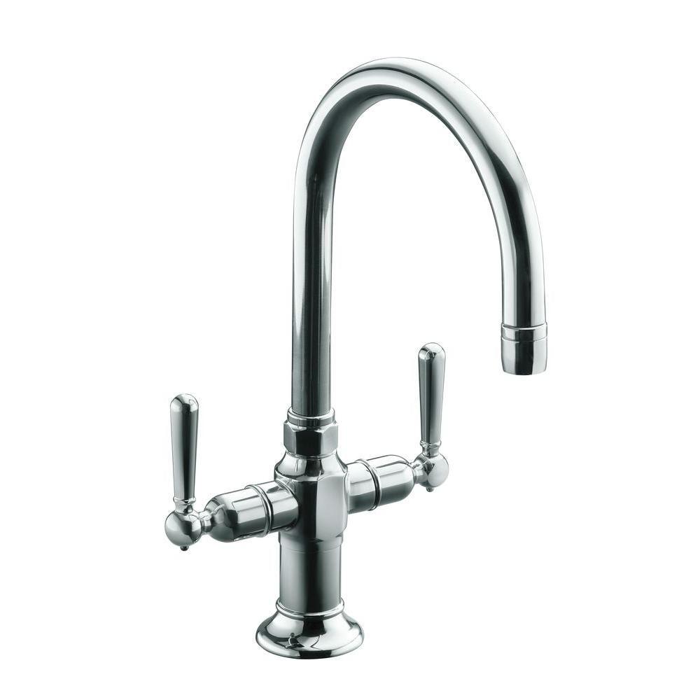 Kohler hirise handle bar faucet in polished stainless steel bar