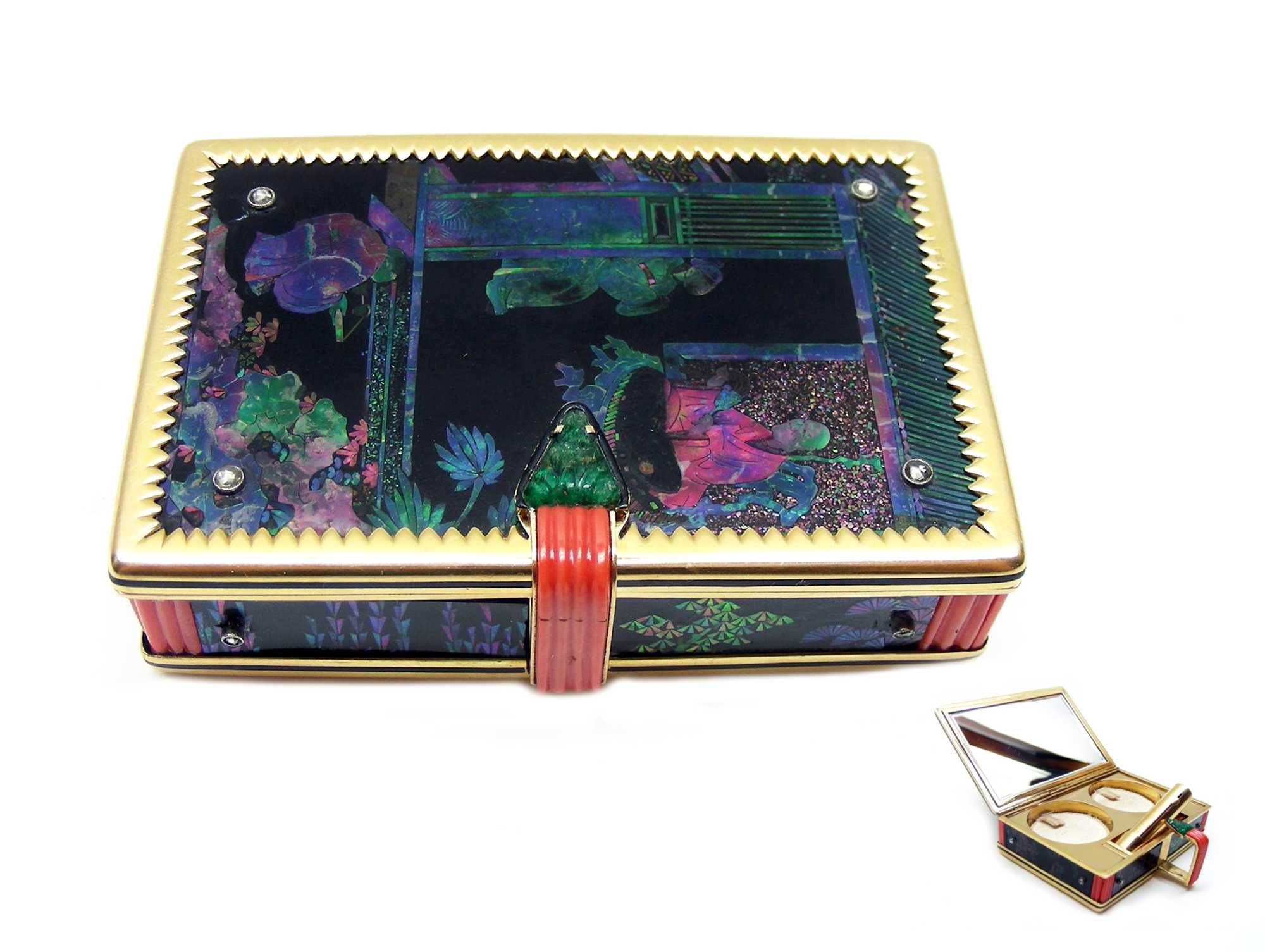 Art Deco lacquer, mother-of-pearl and diamond powder and lipstick box by Cartier, Paris c.1925 , of rectangular shape, the lid, bottom and s...