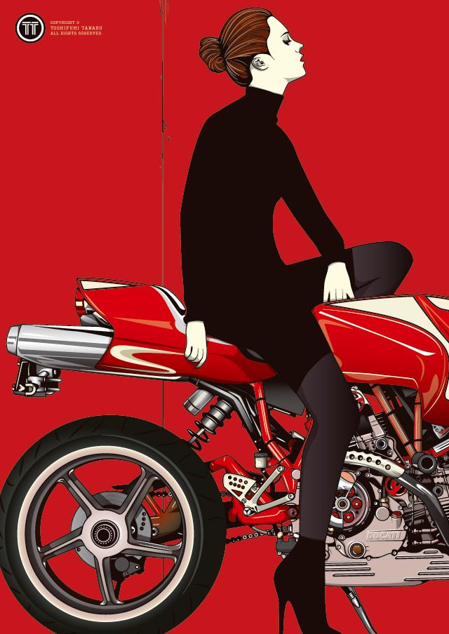 Ducati Mh900e ロケットカウルが凄くかっこよくてこのバイクの代名詞なのに、それをバッサリ切っちゃってるところがいいね。この絵はもう一枚セットがあって、そっちはバイクは全部入っているけれど女性は顔が無いんだ。クールでしょ?