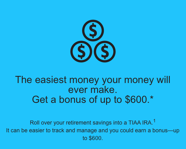 TIAA-CREF #IRA (Individual #Retirement Account) Bonus up to $600 Extra Cash.
