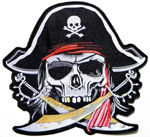 Embroidered Red Pirate Sword Skull Sew or Iron on Patch Biker Patch