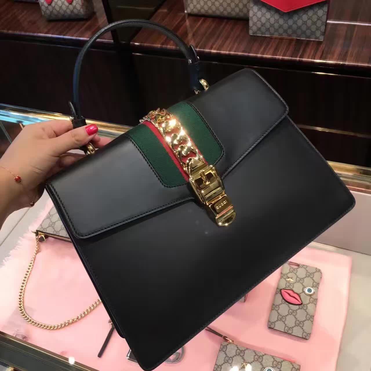 85fe99934c71 Gucci Sylvie Leather Top Handle Bag 431665 Black #gucci #sylvie #bags  #handlebags #guccisylviebags #gucci #guccipurses
