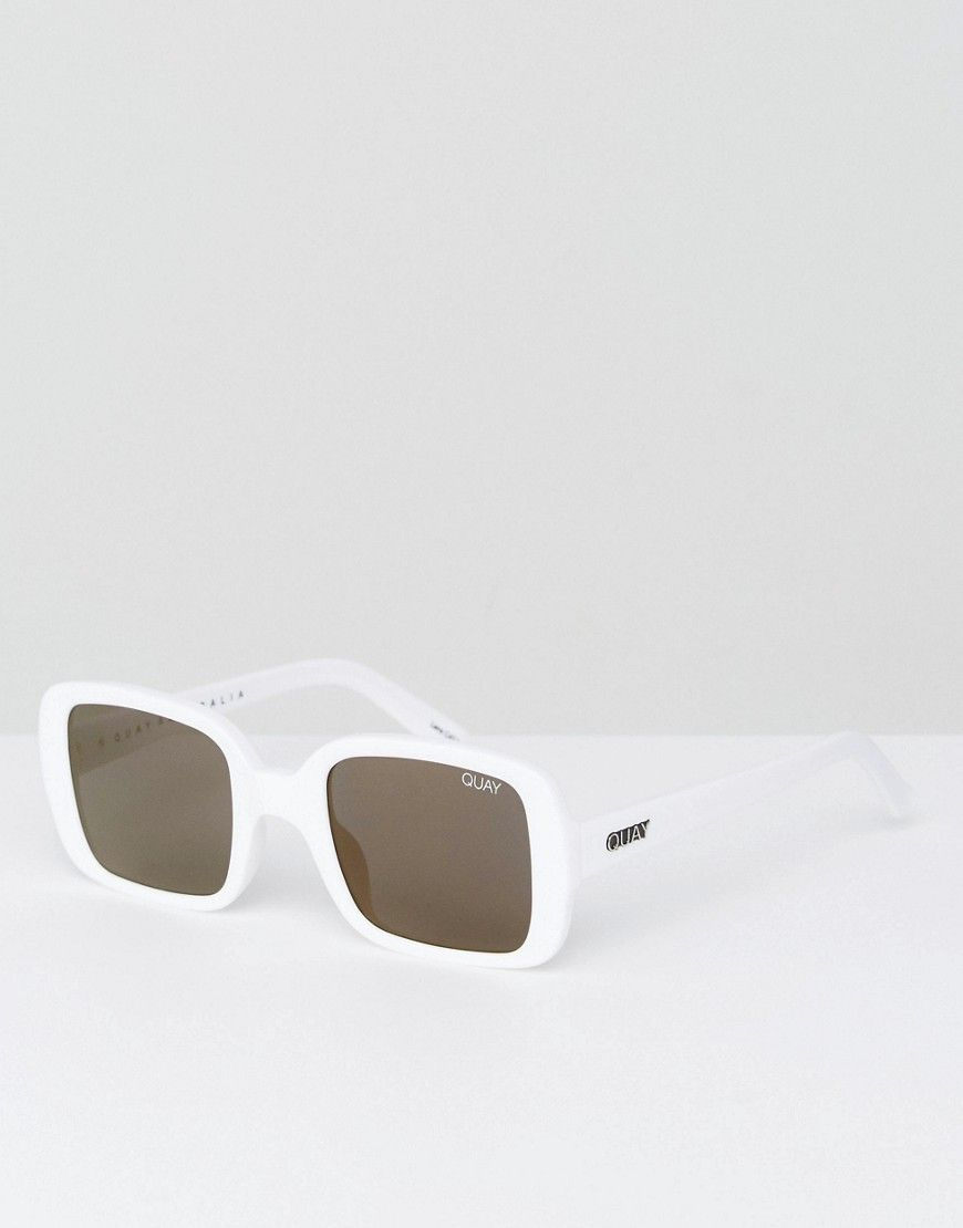72ef593970715 Get this Quay Australia s sunglasses now! Click for more details. Worldwide  shipping. Quay Australia X Kylie Jenner 20s Oversized Square Sunglasses In  White ...