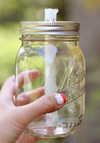 Vintage Amore: Mason Jar Torches -- a gorgeous alternative to tiki torches!