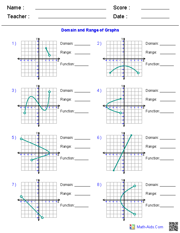 Algebra 1 Worksheets Domain And Range Worksheets Algebra Graphing Functions Precalculus