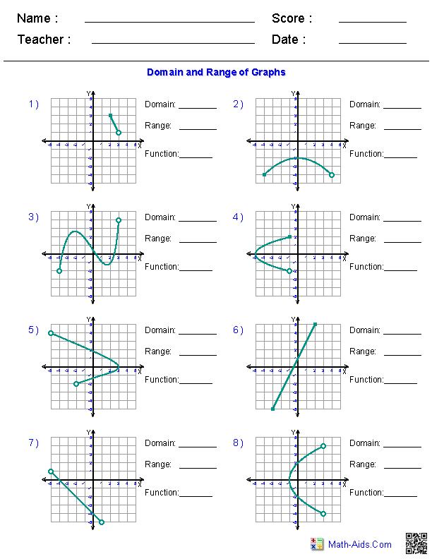 Algebra 1 Worksheets Domain And Range Worksheets Algebra Identifying Functions Algebra Worksheets