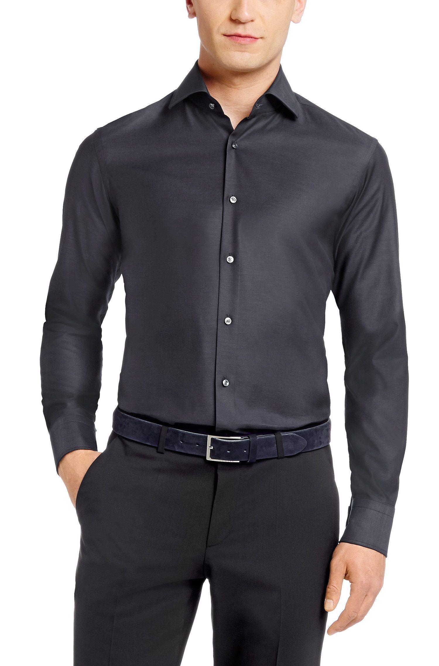 bef10a738 BOSS Chemise Business Regular Fit Gerald avec col italien Gris sombre prix  Chemise homme Hugo Boss 125.00 €