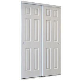 White 6 Panel Sliding Door Common 48 In X 80 5 In Actual 48 In