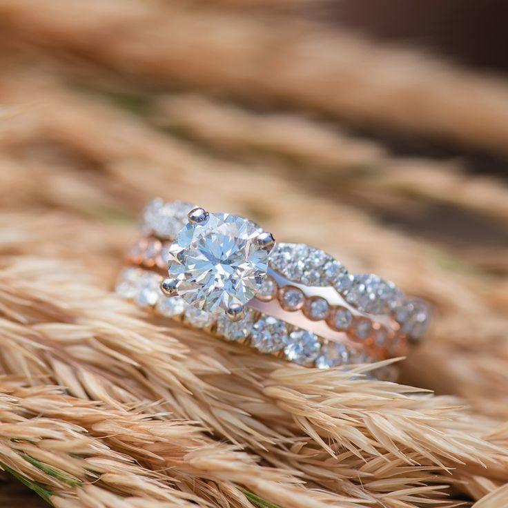 Bezelset engagement ring rose gold womens wedding band infinity