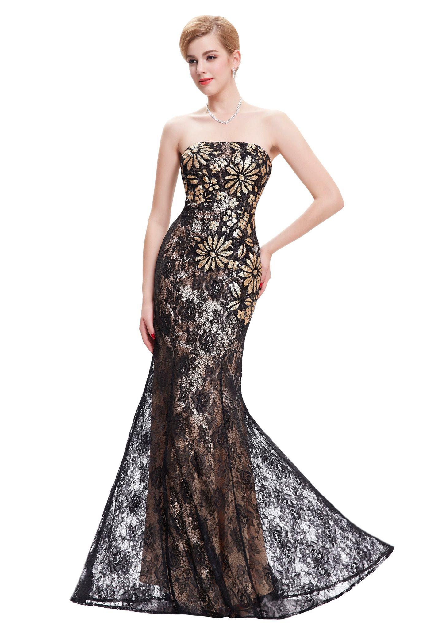 Schulterfreies, langes Etui-Kleid in Schwarz aus Spitze | VIP Dress ...