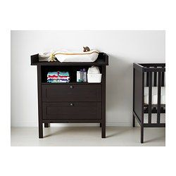 SUNDVIK Changing table/chest of drawers, black-brown - black-brown - IKEA