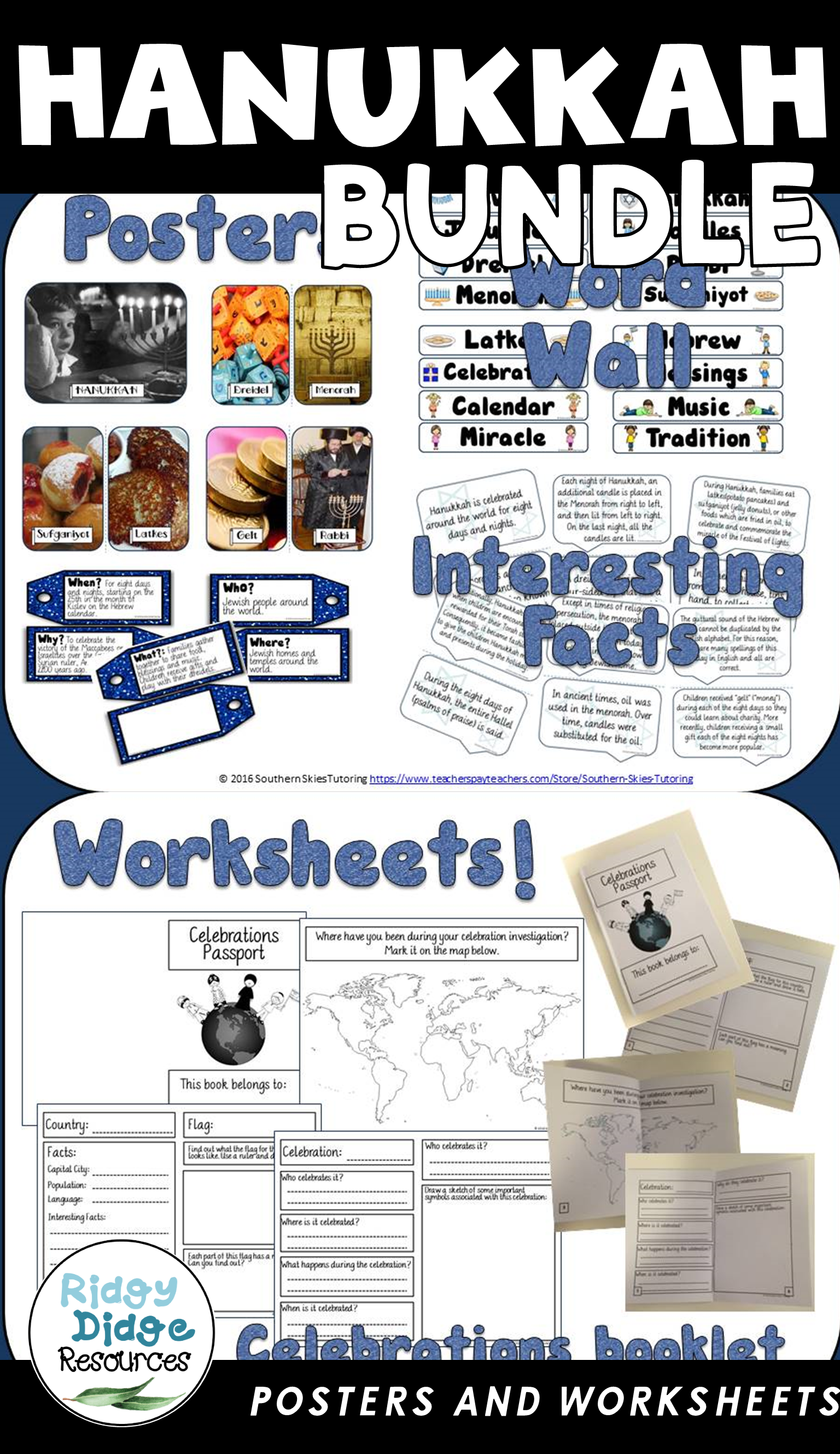 Hanukkah Posters Word Wall And Student Booklet