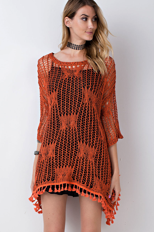 Easel Loose Fit Knit Sweater with Tassel Trim - Rust  5e0bd07e0