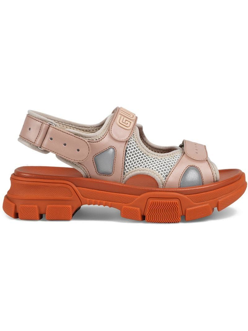 Gucci Leather And Mesh Sandal Farfetch Gucci Leather Trending Shoes Sandals