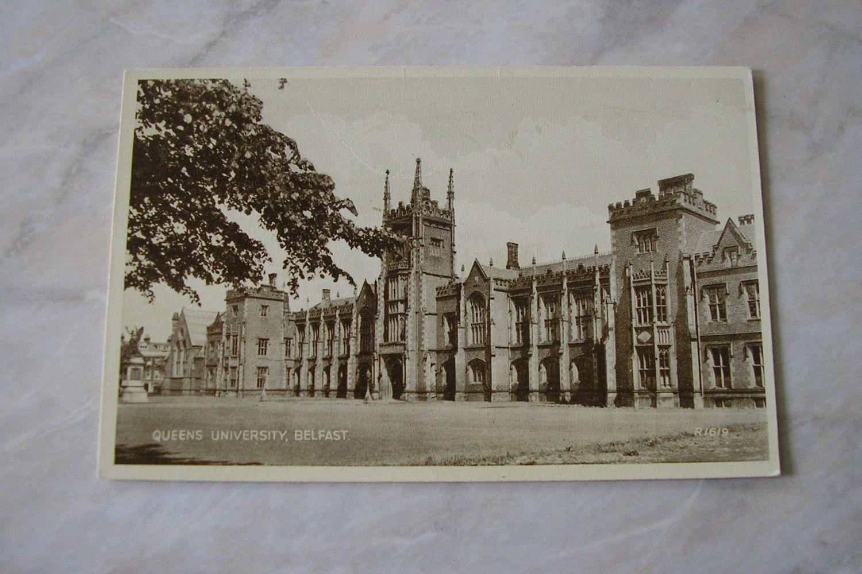 Antique unused Irish Northern Ireland postcard Queens University Belfast Co Antrim 1908 Edwardian from Ireland scarce Valentine SKU F by IrishBarnVintage on Etsy