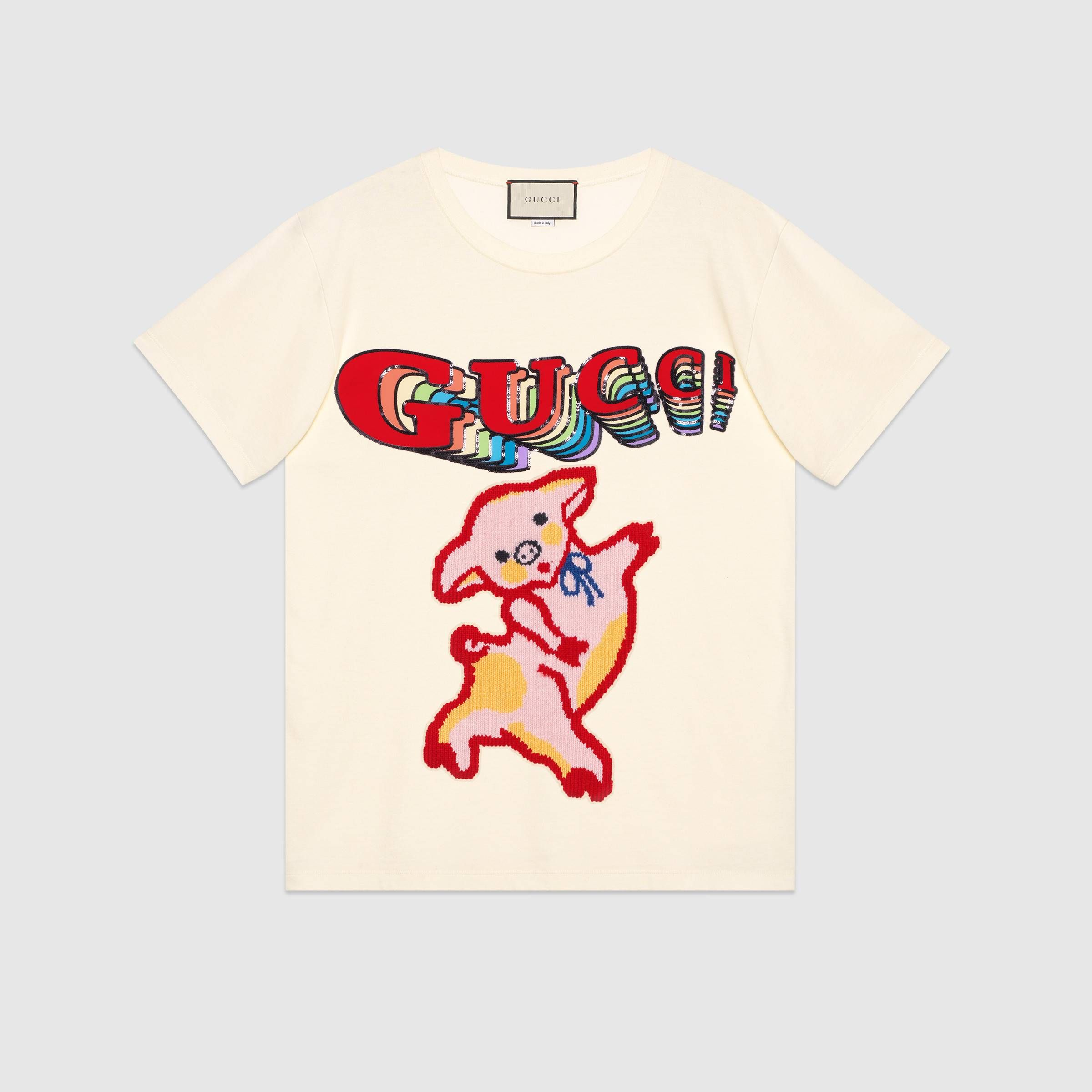 07e0edc54e8 Women s oversize cotton T-shirt with piglet in Off-white cotton jersey