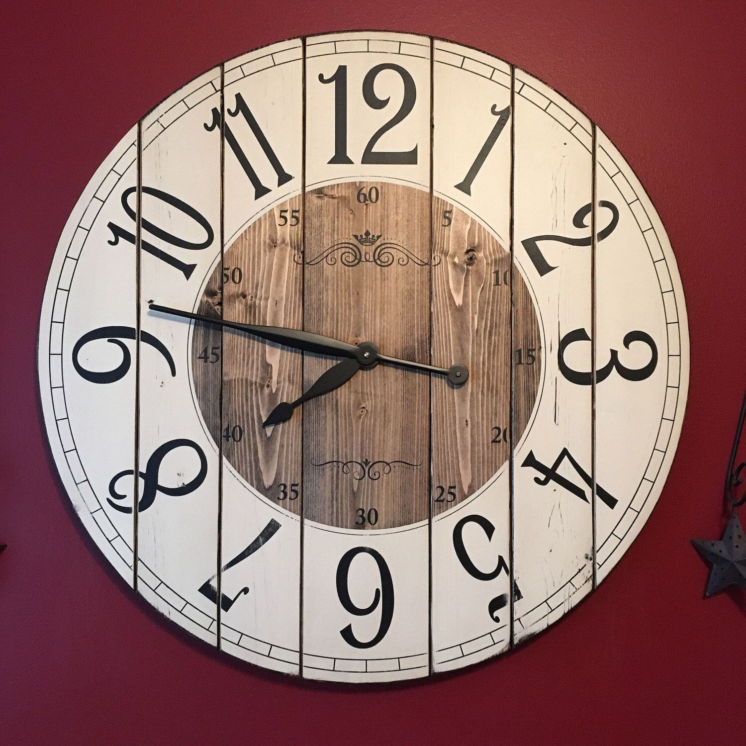 28 inch wooden farmhouse clock arabic numbers rustic