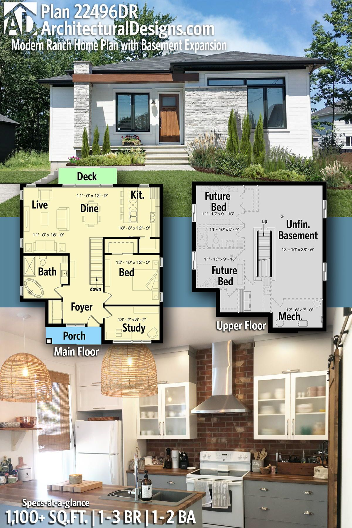 Plan 22496dr Modern Ranch Home Plan With Basement Expansion Ranch House Plans House Plans Basement House Plans