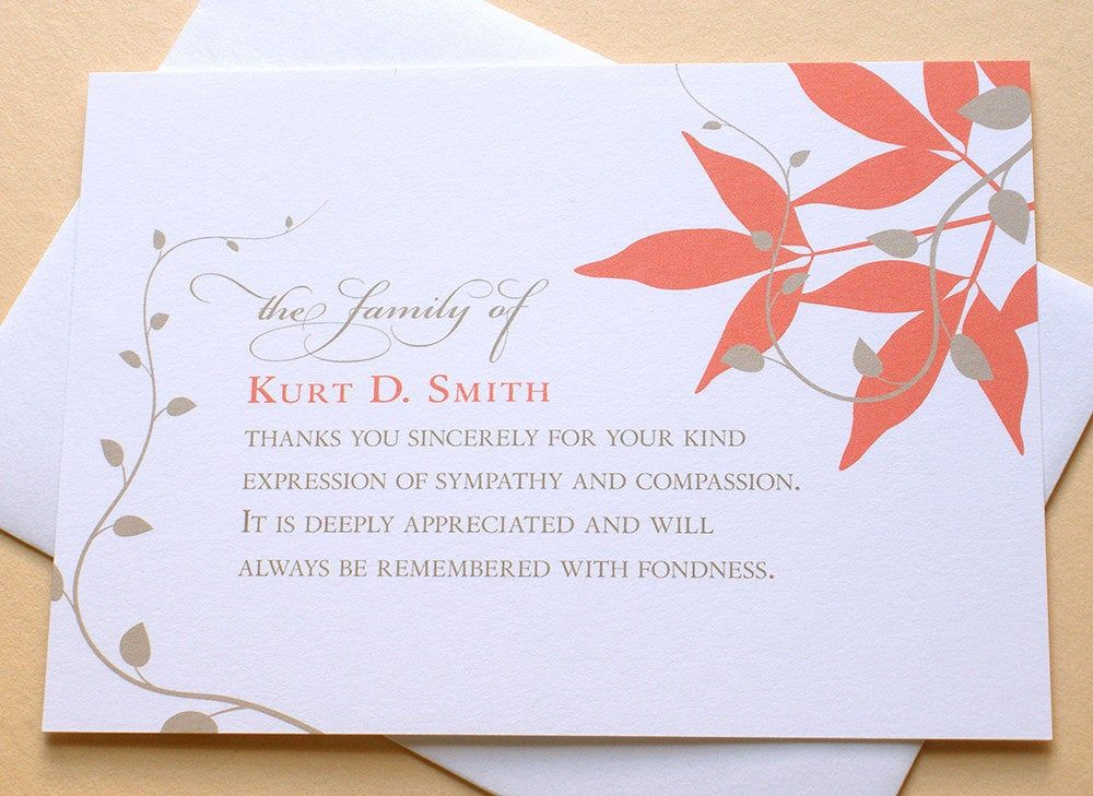 Condolence thank you cards with bright orange leaves