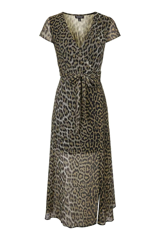 95962769407c PETITE Leopard Wrap Midi Dress - Dresses - Clothing - Topshop USA