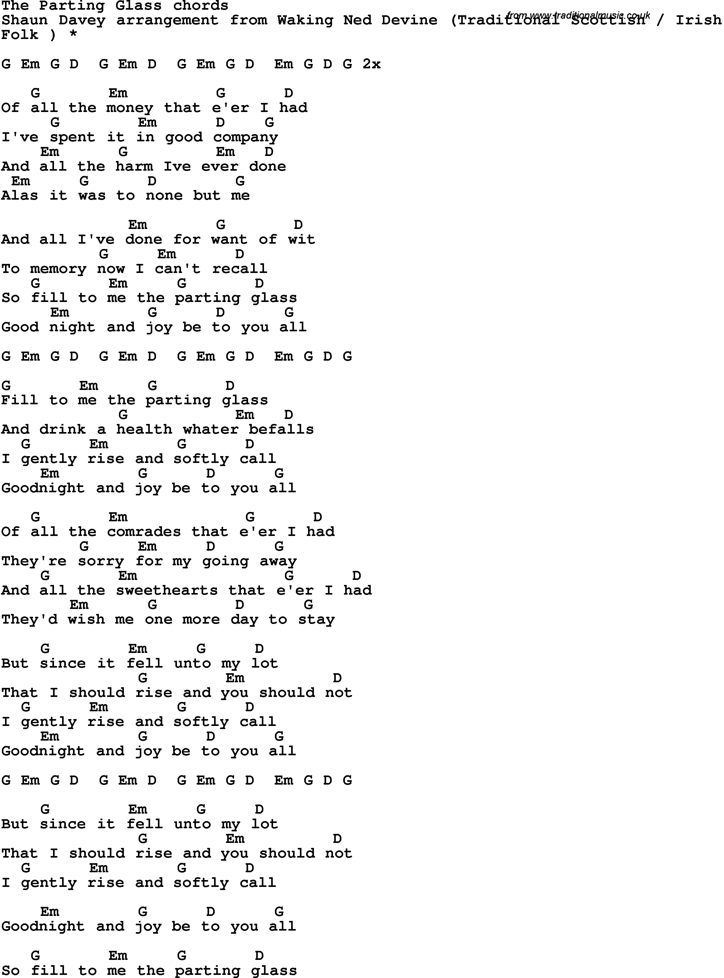 Song Lyrics With Guitar Chords For The Parting Glass Shaun Davey