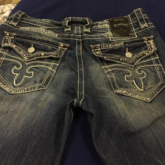 Men Pre owned Rock Revival Jeans.. Best Jeans ever 36 size..! Men.. Good Condition must go...! Must Go..! Rock Revival Jeans Straight Leg