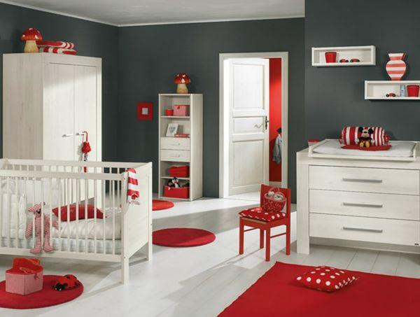 rote weiße und graue farben fürs babyzimmer - 45 auffällige ideen ... - Kinderzimmer Rot Grau
