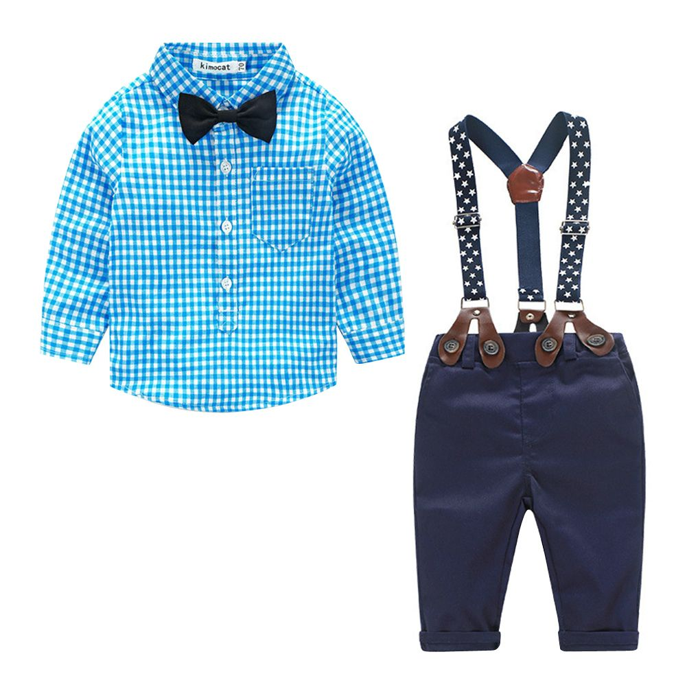 Click to Buy << Fashion Kids Clothes Grid Shirt + Suspender Newborn ...