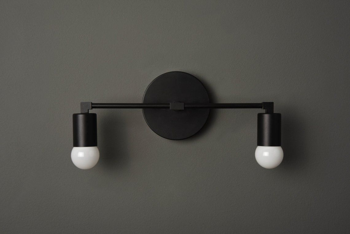 Modern Bathroom Light Mid Century Wall Sconce 2 Light Etsy Modern Bathroom Lighting Modern Bathroom Bathroom Lighting