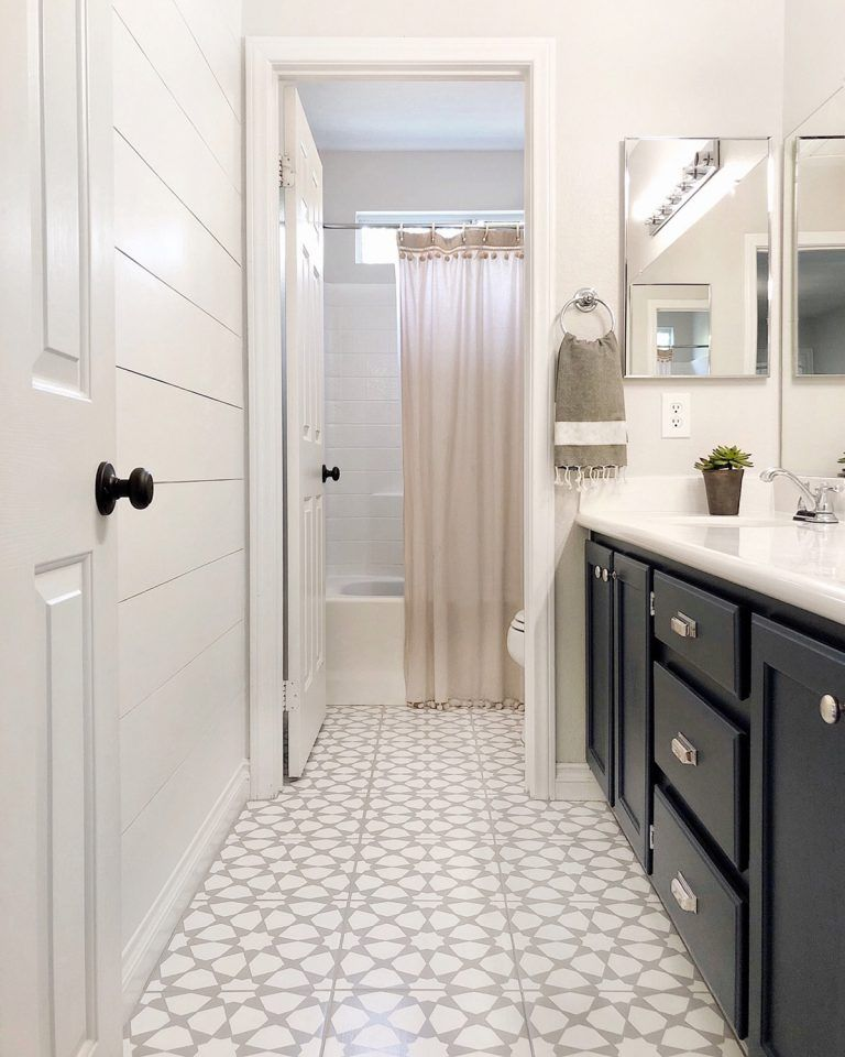 How To Paint A Bathroom Floor To Look Like Cement Tile (For Under $75 is part of Painting bathroom, Painted bathroom floors, Painting bathroom tiles, Bathroom styling, Stenciled floor, Painting tile floors - How To Paint A Bathroom Floor To Look Like Cement Tile (For Under $75)!   Young House Love