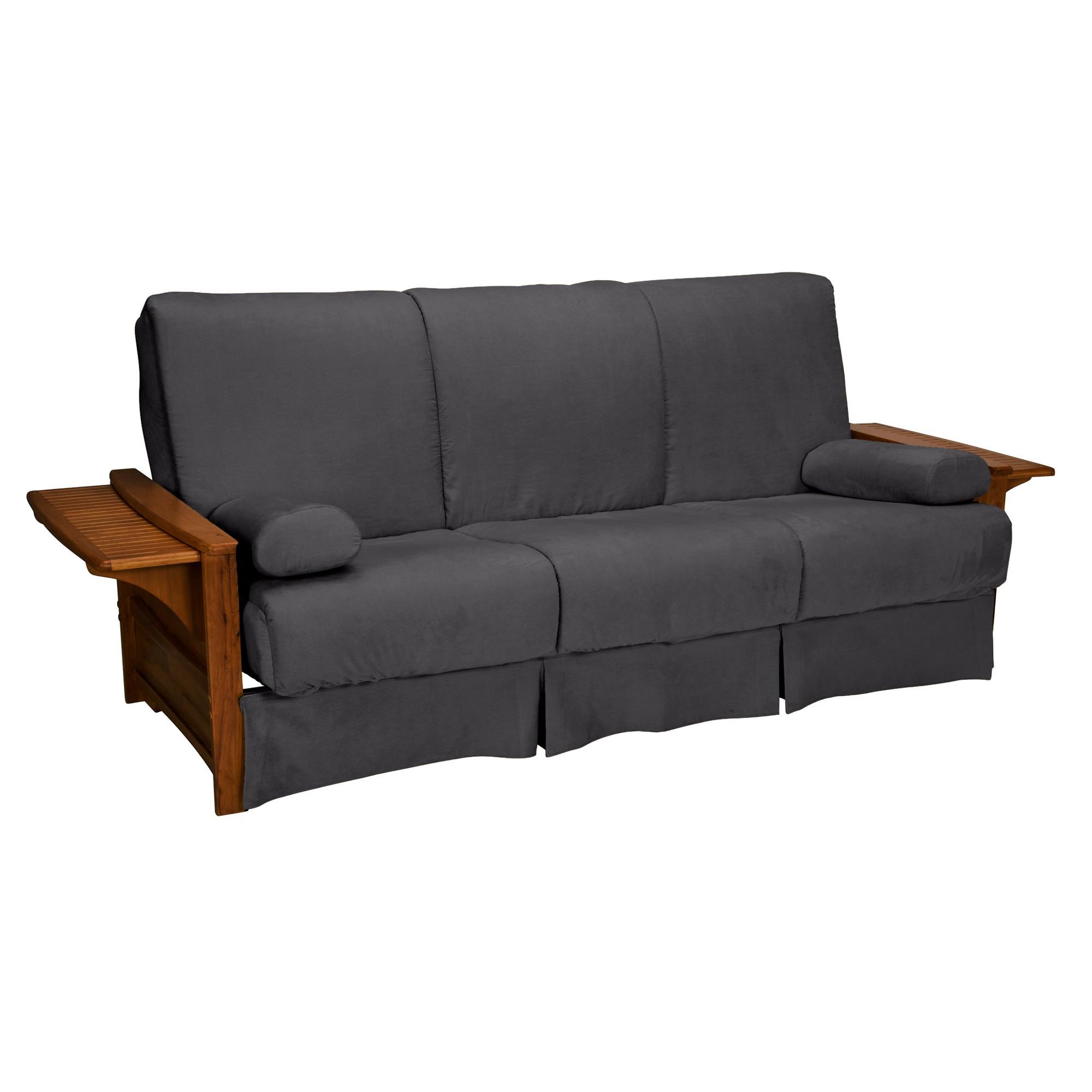 Brooklyn Perfect Futon Sofa Sleeper Walnut Wood Finish Slate Gray Upholstery Chair