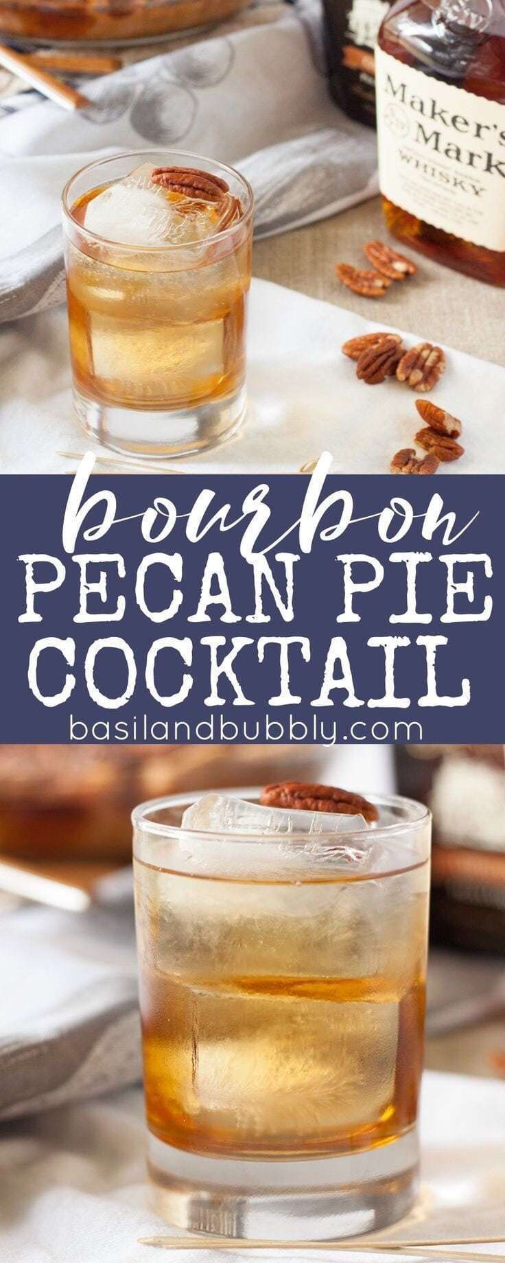 Bourbon Pecan Pie Cocktail #thanksgivingdrinksalcohol