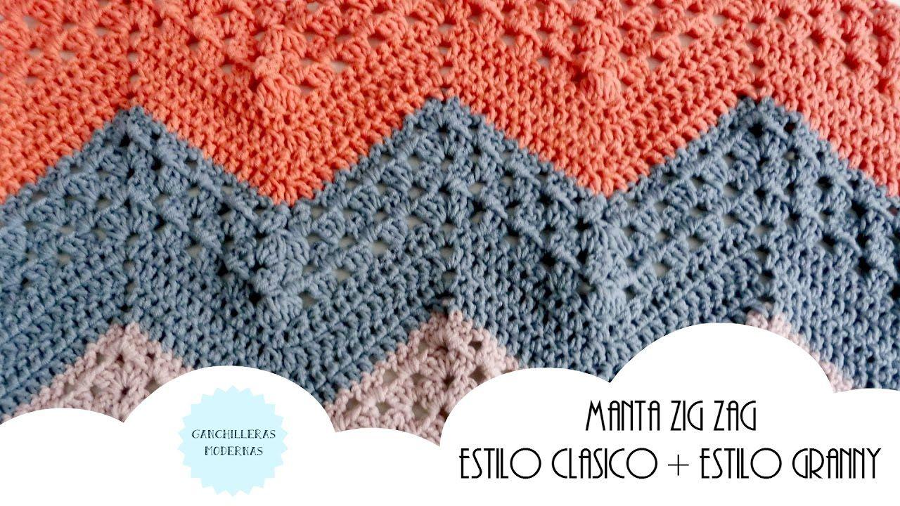 Manta ZIGZAG de crochet PATRÓN CLÁSICO+PATRÓN GRANNY / MUESTRAS DE ...