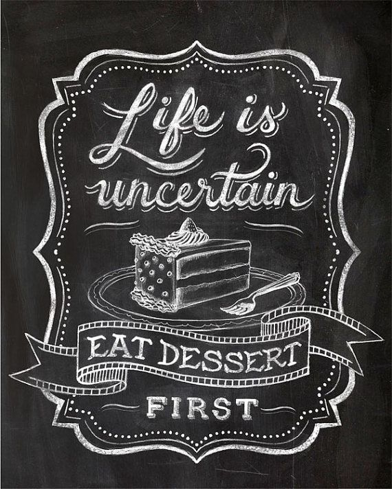 Chalk Art Chalkboard Lettering Calligraphy Cafe Art Dining Room Art Quote Art Eat Dessert Cake Food Quote 8 X 10 11 X 14 12 X 16 Chalkboard Lettering Chalkboard Typography Blackboard Art