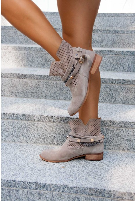 Zamszowe Botki Leonora Cappuccino 2891 Naturalna Skora Wloska Shoes Boots Ankle Boot