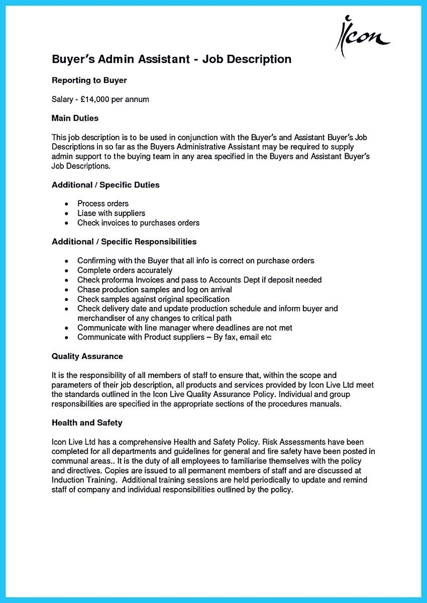 Nice Worth Writing Assistant Buyer Resume To Make You Get The Job Assistant Jobs Executive Assistant Job Description Job Description