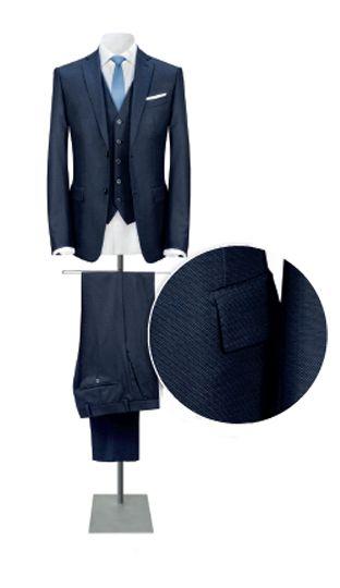 VITALE BARBERIS CANONICO Costume 3 pièces en pure laine. Tissu fantaisie  marine (existe en 06a54146646f