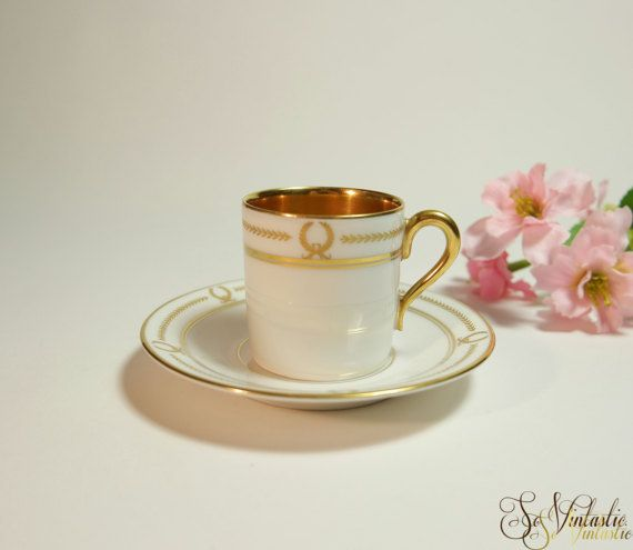 Antique Rosenthal Demi Cup And Saucer Selb Bavaria Gold Lined Demite Mocha Gilt Pattern Small Coffee Espresso Set Rare